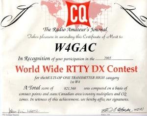 2005 CQWW RTTY Multi-Op 1TX Hi 1st W4