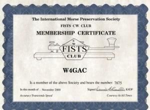 SPARC FISTS Membership Cert