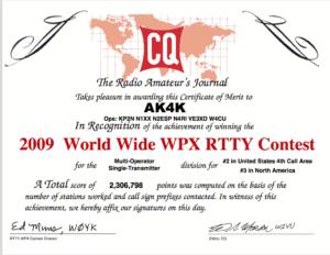 AK4K 2009 WPX RTTY Certificate