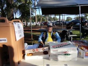 Tom AI4QP manning the doughnut table