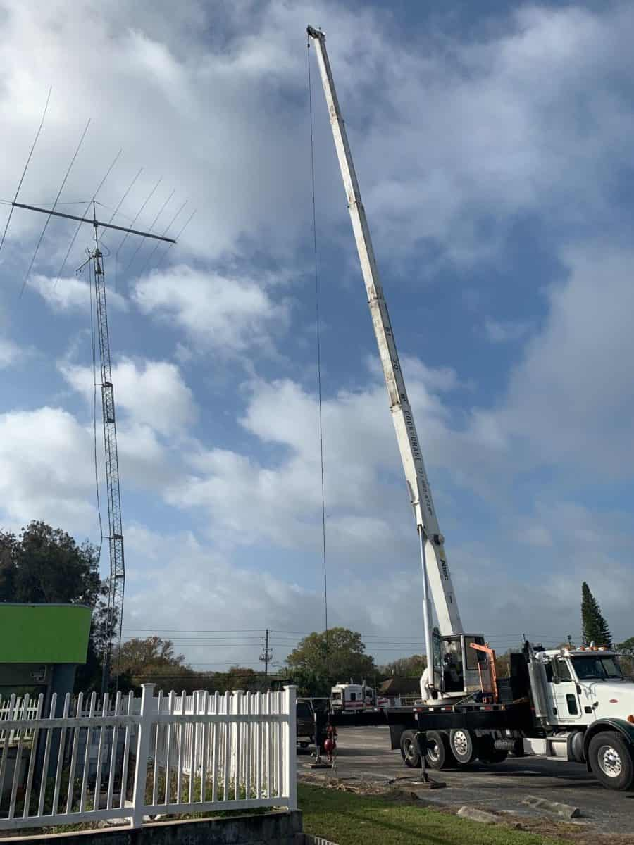 Crane getting setup to lift the tower.